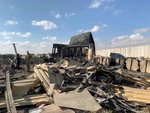 Some of the destruction wrought by volleys of Iranian missiles that hit Ain al-Asad airbase, home to 1,500 US troops, in the early hours of last Wednesday. Source: AFP