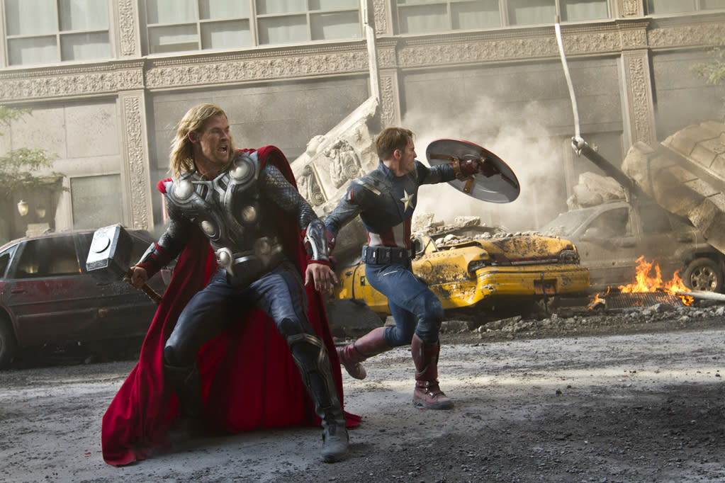 "<a href=""http://movies.yahoo.com/movie/the-avengers-2012/"">The Avengers:</a> <a href=""http://movies.yahoo.com/movie/the-avengers-2012/""><span></span></a>When Loki (Tom Hiddleston) arrives in Manhattan to make earth his bitch, only the Avengers -- Captain America (Chris Evans), Thor (Chris Hemsworth), Hulk (Mark Ruffalo), Iron-Man (Robert Downey Jr.), and the Black Widow (Scarlett Johansson) - have any chance of stopping the egotistical alien."