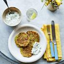"""<p>These flavoursome veggie fritters are easy to whip up for a light dinner. Swap the goat's cheese for feta, if you prefer.</p><p><strong>Recipe: <a href=""""https://www.goodhousekeeping.com/uk/food/a27122732/courgette-fritters/"""" rel=""""nofollow noopener"""" target=""""_blank"""" data-ylk=""""slk:Courgette, Mint and Goats Cheese Fritters with Tzatziki"""" class=""""link rapid-noclick-resp"""">Courgette, Mint and Goats Cheese Fritters with Tzatziki</a></strong></p>"""
