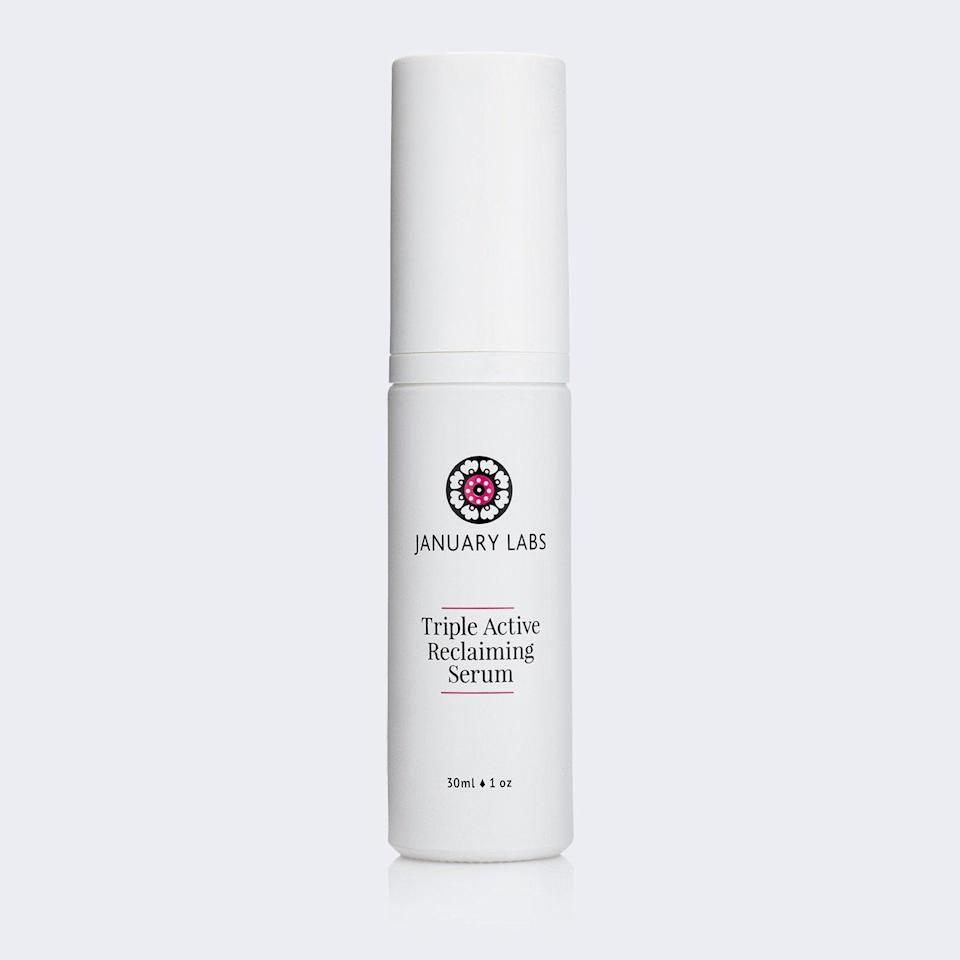 """<h3><a href=""""https://www.januarylabs.com/products/triple-active-reclaiming-serum"""" rel=""""nofollow noopener"""" target=""""_blank"""" data-ylk=""""slk:January Labs Triple Active Reclaiming Serum"""" class=""""link rapid-noclick-resp"""">January Labs Triple Active Reclaiming Serum</a></h3> <br>The question of whether retinol can ever truly be clean is hotly debated, but if you're in the market for an effective serum that eschews parabens, fragrance, and a whole host of other irritants, look no further. Featuring a patented stabilized retinol preparation paired with 2% niacinamide and vitamin C for brightening and antioxidant benefits, plus a hefty dose of aloe to soothe and ward off irritation, this is a formula even the most sensitive skin types can love.<br><br><strong>January Labs</strong> Triple Active Reclaiming Serum, $, available at <a href=""""https://www.januarylabs.com/products/triple-active-reclaiming-serum"""" rel=""""nofollow noopener"""" target=""""_blank"""" data-ylk=""""slk:Credo"""" class=""""link rapid-noclick-resp"""">Credo</a><br>"""