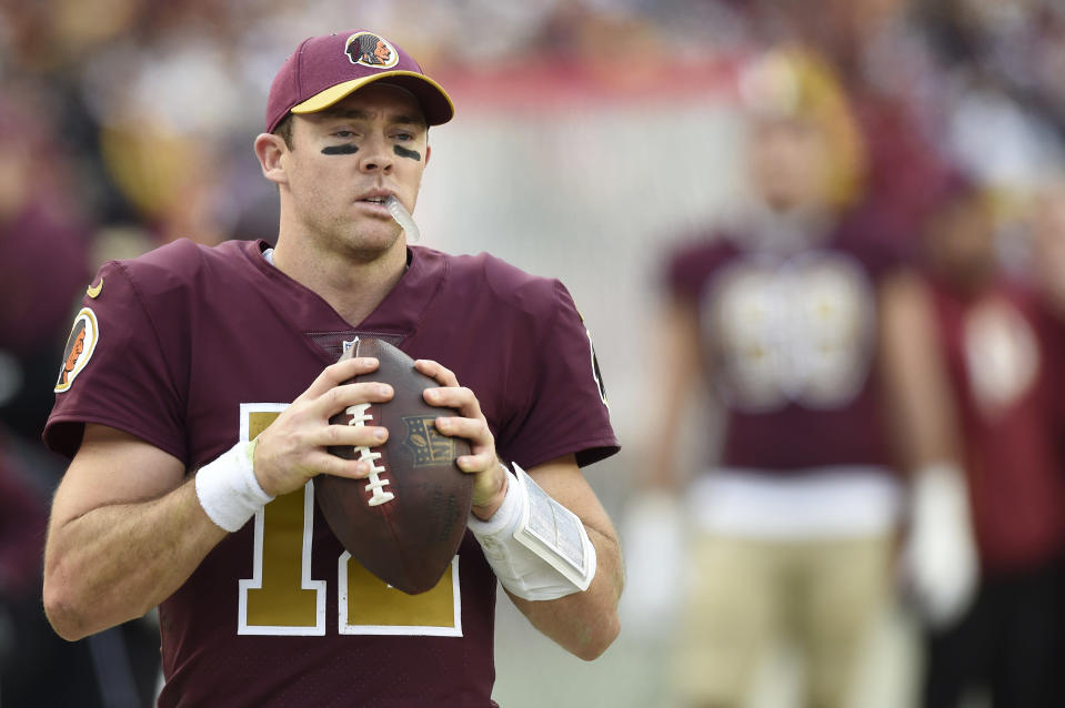 The Redskins' $7 million insurance policy at quarterback kicked in as Colt McCoy will start in relief of an injured Alex Smith. (Getty Images)