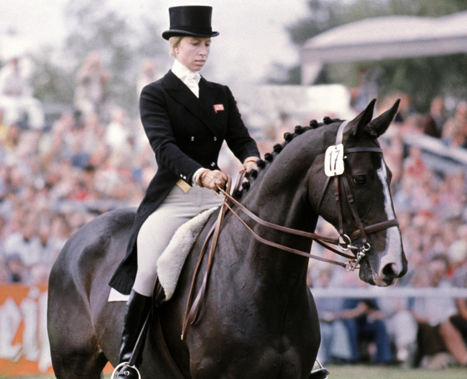 """GERMANY - JANUARY 1:  Britain's Princess Anne rides her horse """"Goodwill"""" during the dressage part of the European three-day Championship in Luhmuelen (Lower Saxony), in which she is taking part as a member of the British team, 08 September 1975.  (Photo credit should read AFP/AFP via Getty Images)"""