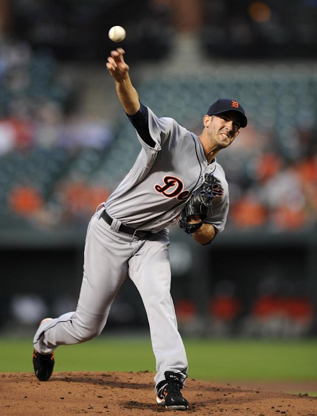 Detroit Tigers starting pitcher Rick Porcello delivers a pitch against the Baltimore Orioles during the first inning of a baseball game, Monday, May 12, 2014, in Baltimore. (AP Photo/Nick Wass)