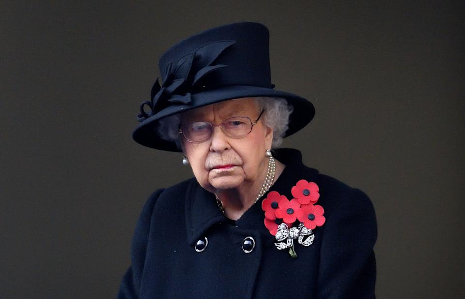 LONDON, UNITED KINGDOM - NOVEMBER 08: (EMBARGOED FOR PUBLICATION IN UK NEWSPAPERS UNTIL 24 HOURS AFTER CREATE DATE AND TIME) Queen Elizabeth II attends the National Service of Remembrance at The Cenotaph on November 8, 2020 in London, England. Remembrance Sunday services were substantially scaled back today due to the current restrictions on gatherings, intended to curb the spread of covid-19. (Photo by Pool/Max Mumby/Getty Images) (Photo: Pool/Max Mumby via Getty Images)