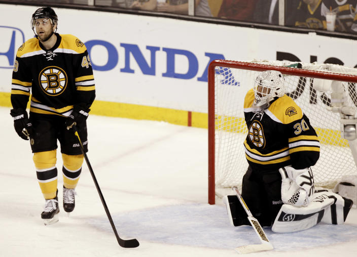 Boston Bruins' Rich Peverley stands in front of goalie Tim Thomas after the Washington Capitals scored during the second period of Washington's 4-3 win in Game 5 in a first-round NHL Stanley Cup playoff hockey series in Boston Saturday, April 21, 2012. (AP Photo/Winslow Townson)