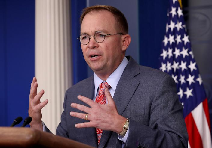 Acting White House chief of staff Mick Mulvaney answers questions during a briefing at the White House on Thursday. (Photo by Win McNamee/Getty Images)