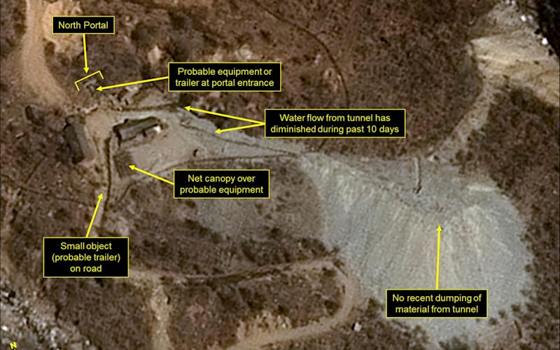 The Punggye-ri nuclear test site in North Korea, shown on April 12, 2017 - Credit:  Pleiades CNES/Airbus DS/38 North/Spot Image/AP