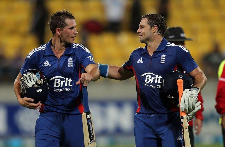Alex Hales (right) celebrates the win with team mate Michael Lumb during in Wellington on February 15, 2013