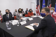 From left, Secretary of State Antony Blinken, Secretary of Commerce Gina Raimondo and United States Trade Representative Katherine Tai gather for a strategic meeting with European Commission Executive Vice Presidents Valdis Dombrovskis and Margrethe Vestager during the inaugural meeting of the U.S.-EU Trade and Technology Council (TTC) at the Hazelwood Green Mill 19 building, Wednesday, Sept. 29, 2021, in Pittsburgh. (AP Photo/Rebecca Droke)
