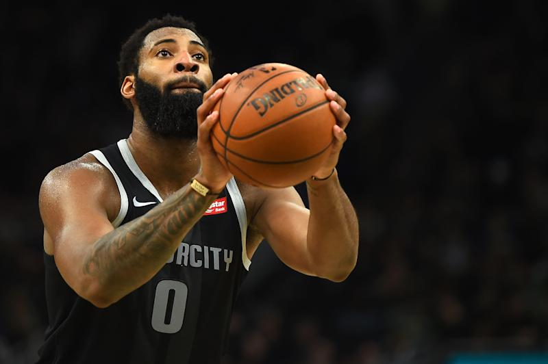 MILWAUKEE, WISCONSIN - APRIL 17: Andre Drummond #0 of the Detroit Pistons shoots a free throw during Game Two of the first round of the 2019 NBA Eastern Conference Playoffs against the Milwaukee Bucks at Fiserv Forum on April 17, 2019 in Milwaukee, Wisconsin. NOTE TO USER: User expressly acknowledges and agrees that, by downloading and or using this photograph, User is consenting to the terms and conditions of the Getty Images License Agreement. (Photo by Stacy Revere/Getty Images)