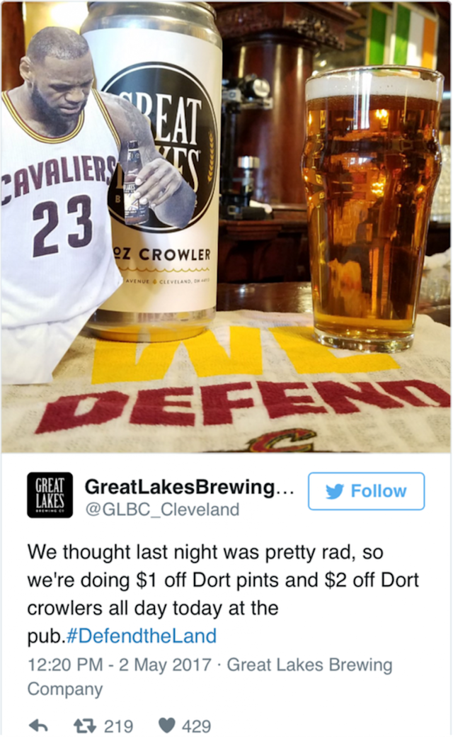 This tweet has since been deleted. (Screenshot via cleveland.com)