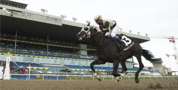 Mighty Heart, seen above at the 161st Queen's Plate, fell short of the Canadian Triple Crown after stablemate Belichick won the Breeders' Stakes in October 2020. (Nathan Denette/The Canadian Press - image credit)