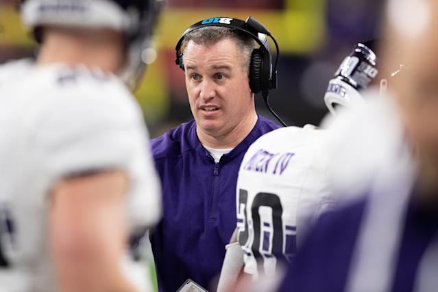 Northwestern Wildcats head coach Pat Fitzgerald on the sidelines during the Big 10 title game. (Getty)