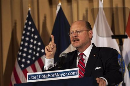 Republican Mayoral candidate Joe Lhota speaks after winning the Republican nomination for New York City mayor in New York