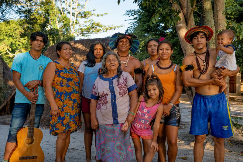 Members of Brazil's indigenous Guarani people pictured in unknown location
