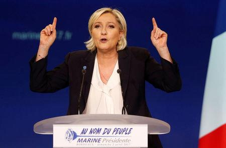 Marine Le Pen, French National Front (FN) political party leader and candidate for French 2017 presidential election, attends a political rally in Bordeaux, France, April 2, 2017.  REUTERS/Regis Duvignau