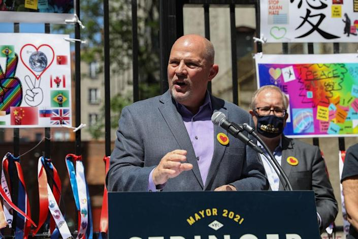 UFT president Michael Mulgrew speaks during a campaign event for mayoral candidate Scott Stringer in New York City on May 25. (Getty Images)