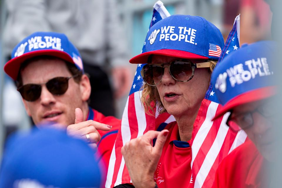 USA fans are seen in the grandstand during round 2 of The Presidents Cup at Royal Melbourne Golf Club on December 13, 2019 in Melbourne, Australia. (Photo by Speed Media/Icon Sportswire via Getty Images)