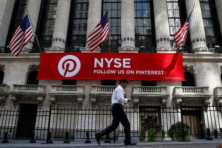 A Pinterest banner hangs on the facade of the NYSE in New York