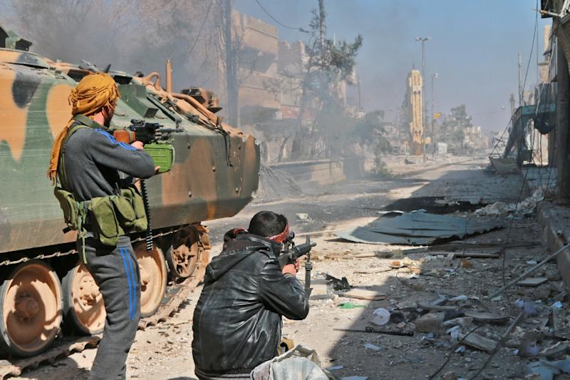 Al-Bab, a strategic town, just 25 kilometres (15 miles) south of the Turkish border, was the jihadists' last stronghold in the northern Syrian province of Aleppo (AFP Photo/Maan al-Shanan)