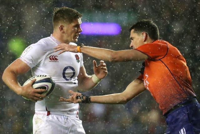 Owen Farrell and Pascal Gauzere in dispute at Murrayfield last year