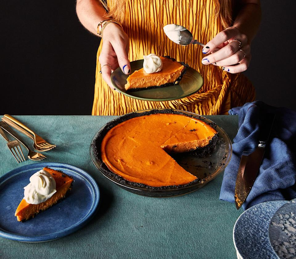 """We tested this pie recipe with canned sweet potatoes, but it just wasn't as good. Go fresh or go home. <a href=""""https://www.bonappetit.com/recipe/sweet-potato-miso-pie-with-chocolate-sesame-crust?mbid=synd_yahoo_rss"""" rel=""""nofollow noopener"""" target=""""_blank"""" data-ylk=""""slk:See recipe."""" class=""""link rapid-noclick-resp"""">See recipe.</a>"""