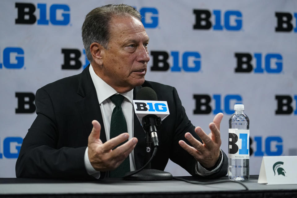Michigan State men's head coach Tom Izzo speaks during the Big Ten NCAA college basketball media days in Indianapolis, Friday, Oct. 8, 2021. (AP Photo/Michael Conroy)