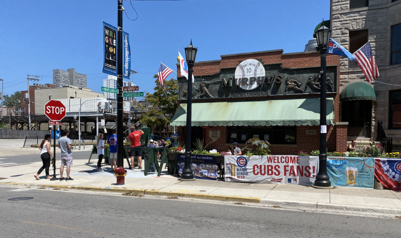 Murphy's Bleachers, across the street from Wrigley Field, welcomes a few Cubs fans. (Yahoo Sports)