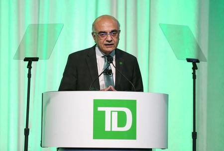 TD Bank Group president and CEO Masrani speaks during the bank's annual meeting of shareholders in Toronto