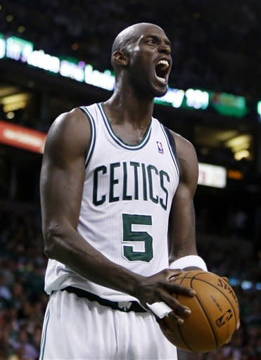 Boston Celtics' Kevin Garnett reacts after being called for a foul in the fourth quarter of an NBA first-round playoff series basketball game against the Atlanta Hawks in Boston, Sunday, May 6, 2012. The Celtics won 101-79. (AP Photo/Michael Dwyer)
