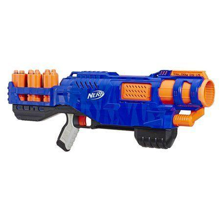 """<p><strong>Nerf</strong></p><p>walmart.com</p><p><strong>$24.88</strong></p><p><a href=""""https://go.redirectingat.com?id=74968X1596630&url=https%3A%2F%2Fwww.walmart.com%2Fip%2F656461460&sref=https%3A%2F%2Fwww.goodhousekeeping.com%2Fchildrens-products%2Ftoy-reviews%2Fg29419638%2Fbest-toys-gifts-for-9-year-old-boys%2F"""" rel=""""nofollow noopener"""" target=""""_blank"""" data-ylk=""""slk:Shop Now"""" class=""""link rapid-noclick-resp"""">Shop Now</a></p><p>Since it can blast up to three darts at the same time, this Walmart-exclusive Nerf toy is an awesome gift idea for any 9-year-old boy. It <strong>comes with five shells and 15 Nerf Elite darts </strong>to fill them up. Parents won't need to worry about buying batteries, either, since it's operated entirely by your child. <em>Ages 8+</em></p>"""