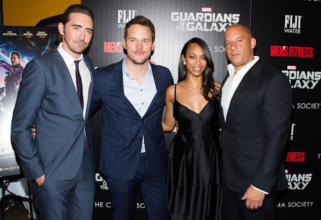 <p><em><em>In 2014, Saldana joined the Marvel Universe as Gamora in the smash hit <em>Guardians of the Galaxy</em>. She posed with co-stars Lee Pace, Chris Pratt, and Vin Diesel at the New York premiere on July 29, 2014. (Photo: Charles Sykes/AP) </em></em></p>