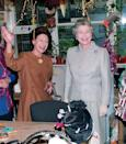 <p>Backstage at London's Royal Opera House, Queen Elizabeth and Princess Margaret enjoyed the Christmas decorations.</p>