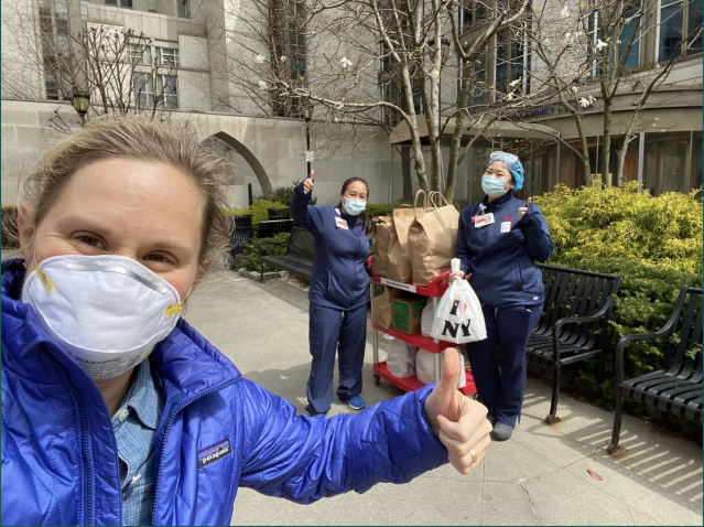 Katie Finn dropping off food to nurses in NYC