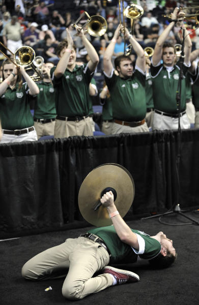 The Ohio band celebrates Ohio's 62-56 win over South Florida in a third-round NCAA college basketball tournament game on Sunday, March 18, 2012, in Nashville, Tenn. (AP Photo/Donn Jones)