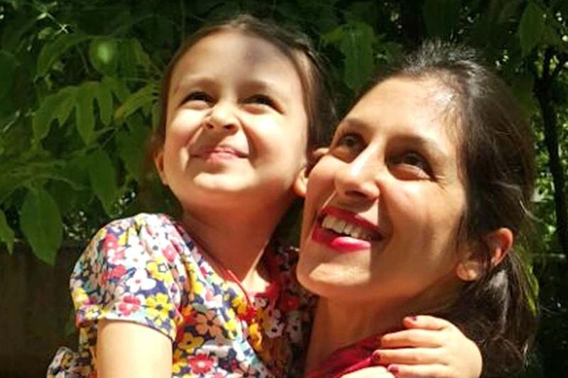 Archive photo of Nazanin with her daughter Gabriella: PA