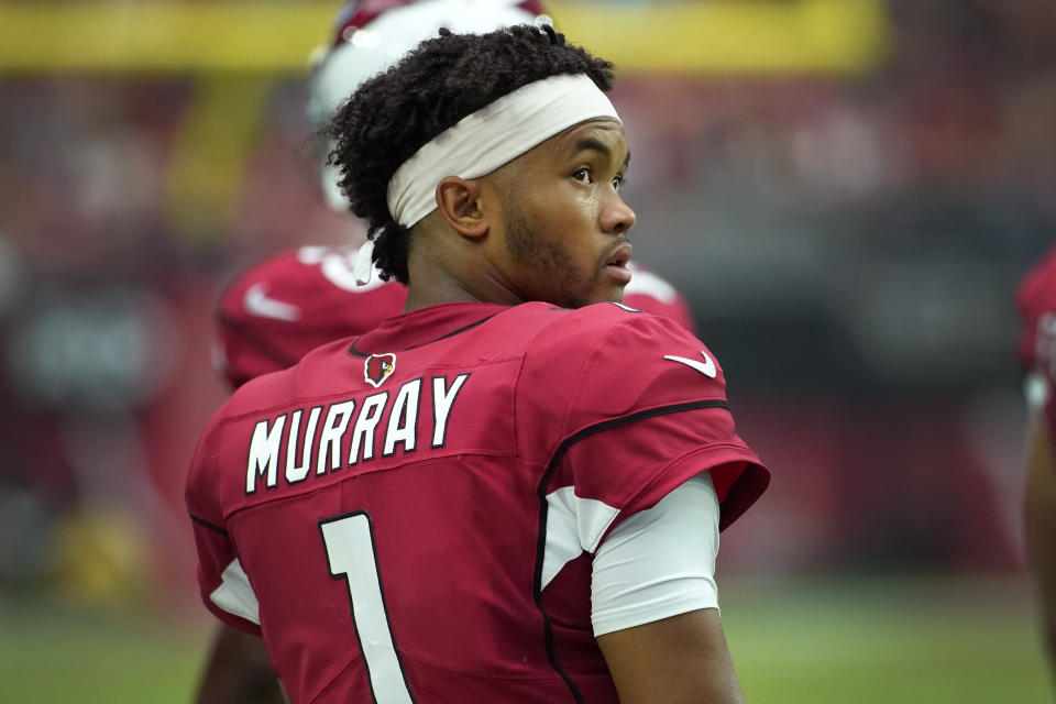 Arizona Cardinals quarterback Kyler Murray (1) stands on the sidelines during the first half of an NFL football game against the Detroit Lions, Sunday, Sept. 8, 2019, in Glendale, Ariz. (AP Photo/Rick Scuteri)