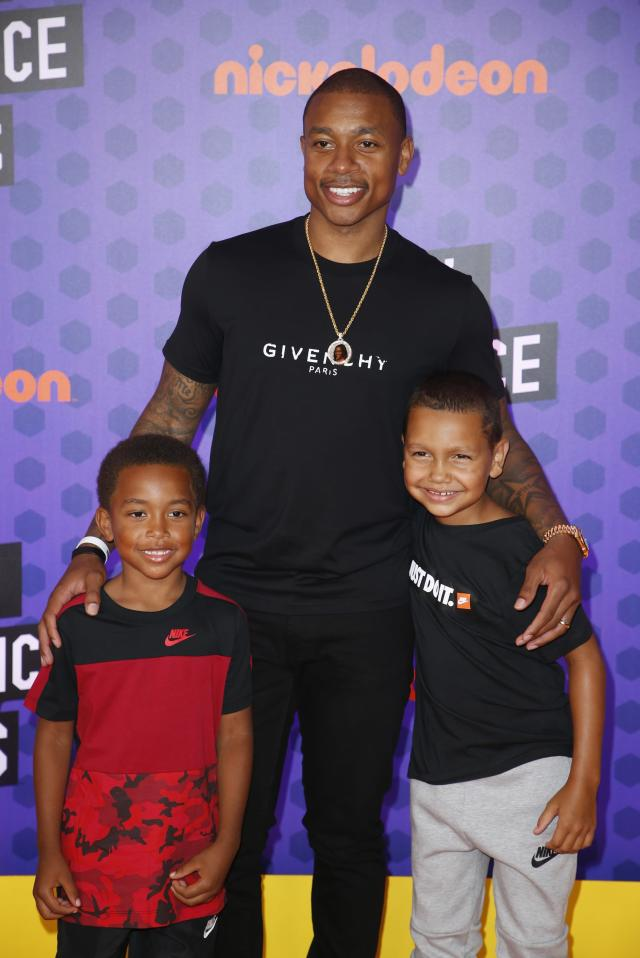 Kids Choice Sport Awards 2018 – Arrivals – Los Angeles, California, U.S., 19/07/2018. Denver Nuggets NBA basketball player Isaiah Thomas with Jaiden and James. REUTERS/Danny Moloshok