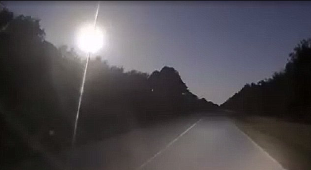 Huge meteor captured on dashcam burning across the sky in America