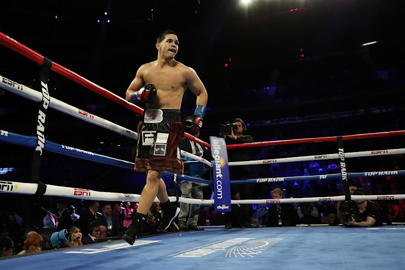 NEW YORK, NEW YORK - DECEMBER 14: Edgar Berlanga celebrates his first round Technical Knockout against Cesar Nunez during their super middleweight bout at Madison Square Garden on December 14, 2019 in New York City. (Photo by Al Bello/Getty Images)