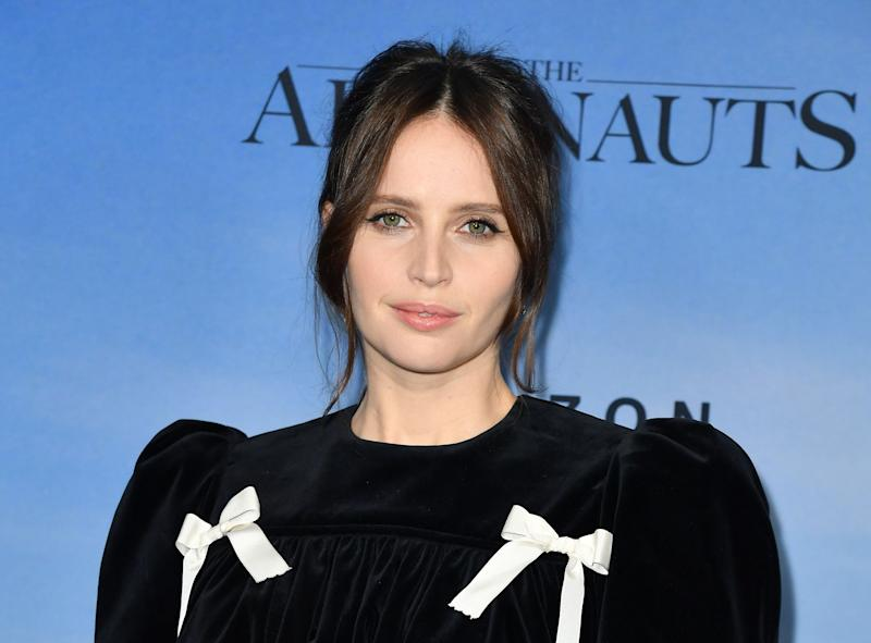 """British actress Felicity Jones arrives for the New York premiere of """"The Aeronauts"""" at the SVA theatre in New York on December 4, 2019. (Photo by ANGELA WEISS / AFP) (Photo by ANGELA WEISS/AFP via Getty Images)"""