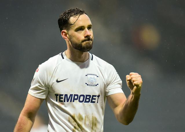 "Soccer Football - Championship - Preston North End vs Hull City - Deepdale, Preston, Britain - February 3, 2018 Preston's Greg Cunningham celebrates at full time Action Images/Paul Burrows EDITORIAL USE ONLY. No use with unauthorized audio, video, data, fixture lists, club/league logos or ""live"" services. Online in-match use limited to 75 images, no video emulation. No use in betting, games or single club/league/player publications. Please contact your account representative for further details."