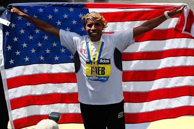 BOSTON, MA - APRIL 21: Meb Keflezighi of the United States celebrates after winning the 118th Boston Marathon on April 21, 2014 in Boston, Massachusetts. (Photo by Jim Rogash/Getty Images)
