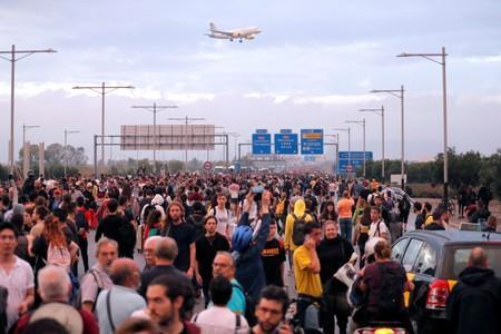Protesters block a road towards Barcelona's airport, after a verdict in a trial over a banned independence referendum