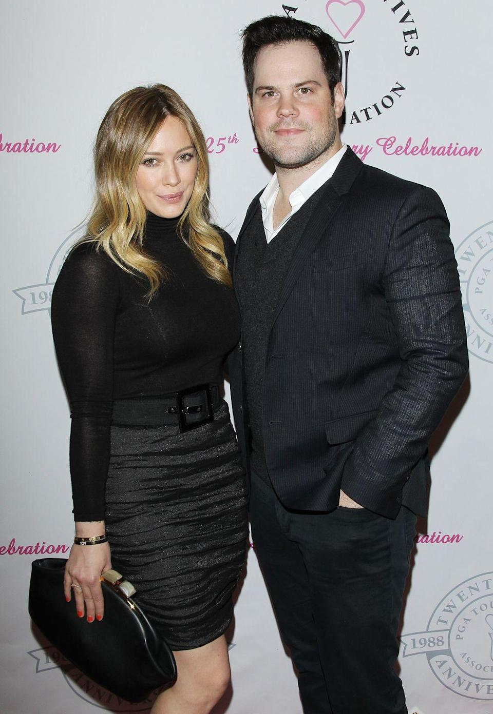"""<p>Hilary Duff is currently expecting her second child with husband Matthew Koma, but don't forget about her first marriage way back when. The Disney star and actress married NFL player Mike Comrie in 2010, when she was only 22 years old. They welcomed a son, Luca, in 2012, <a href=""""https://www.eonline.com/news/946066/how-hilary-duff-started-over-after-heartbreak-motherhood-new-love-and-her-best-role-yet"""" rel=""""nofollow noopener"""" target=""""_blank"""" data-ylk=""""slk:but divorced in 2016"""" class=""""link rapid-noclick-resp"""">but divorced in 2016</a>.</p>"""