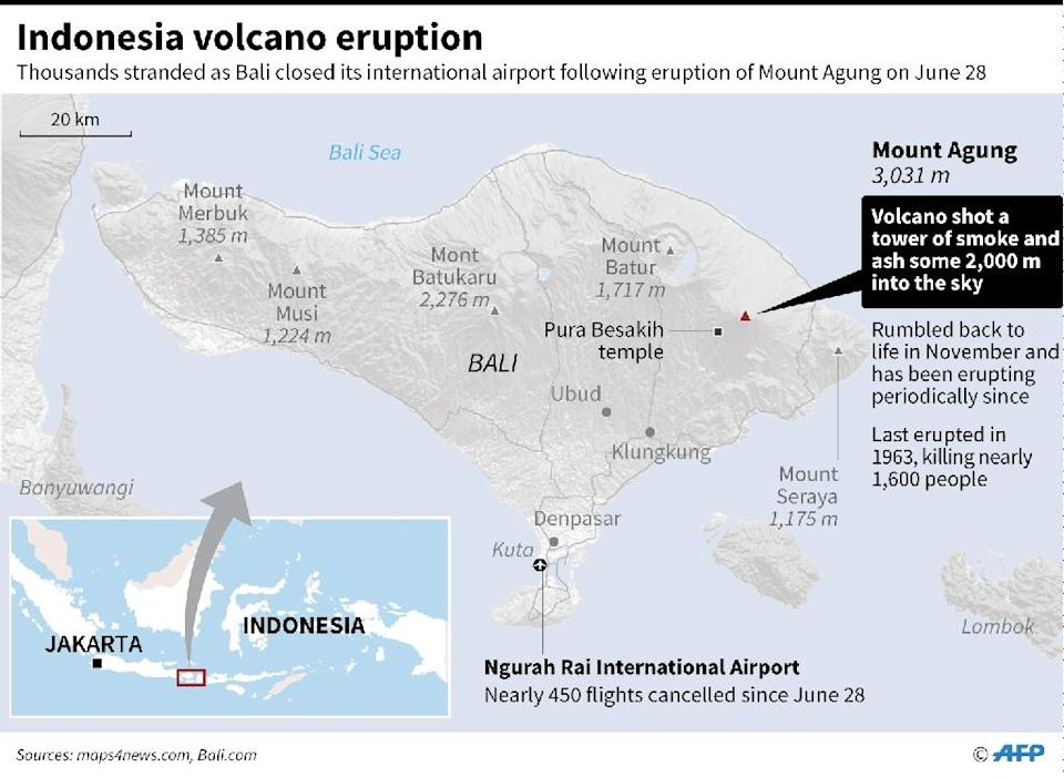 The location of Indonesia's Mount Agung (AFP Photo/Laurence CHU)