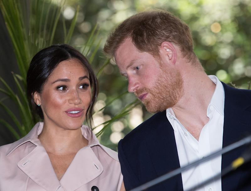 A photo of Prince Harry, Duke of Sussex and Meghan, Duchess of Sussex at the British High Commissioner's residence to attend an afternoon reception to celebrate the UK and South Africa's important business and investment relationship, looking ahead to the Africa Investment Summit the UK will host in 2020. This is part of the Duke and Duchess of Sussex's royal tour to South Africa. on October 02, 2019 in Johannesburg, South Africa.