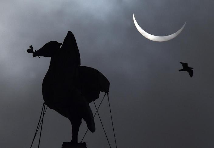 A partial solar eclipse is visible next to the iconic Liver Bird on top of the Liver Building in Liverpool, north-west England on March 20, 2015 (AFP Photo/Paul Ellis)