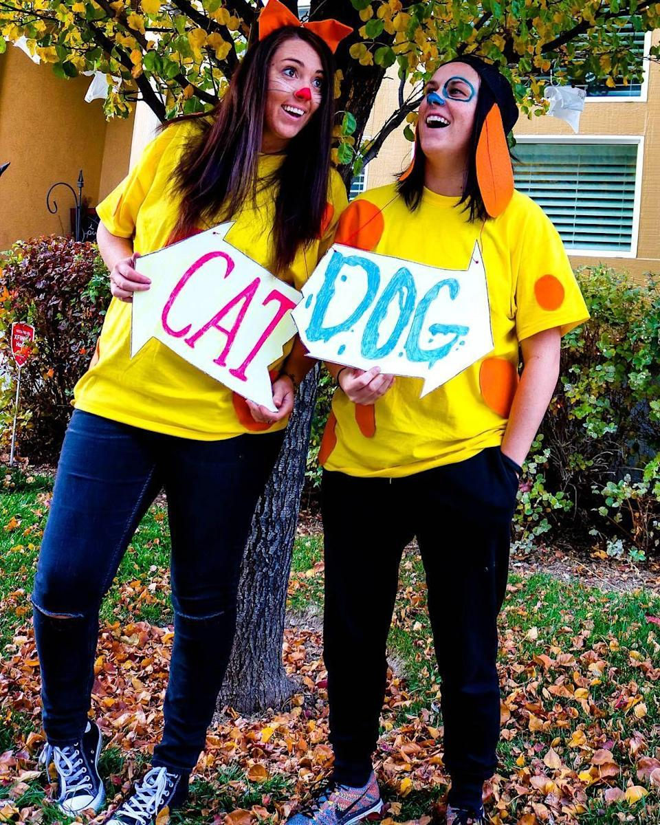 """<p>Nothing like dressing up as conjoined cat and dog siblings to show that you and your bestie are attached at the hip. All you need are <a href=""""https://www.amazon.com/Fruit-Loom-Mens-T-Shirt-Medium/dp/B01LZWJPVH?tag=syn-yahoo-20&ascsubtag=%5Bartid%7C10055.g.22074138%5Bsrc%7Cyahoo-us"""" rel=""""nofollow noopener"""" target=""""_blank"""" data-ylk=""""slk:yellow shirts"""" class=""""link rapid-noclick-resp"""">yellow shirts</a> and some spare fabric to make ears and polka dots.</p>"""