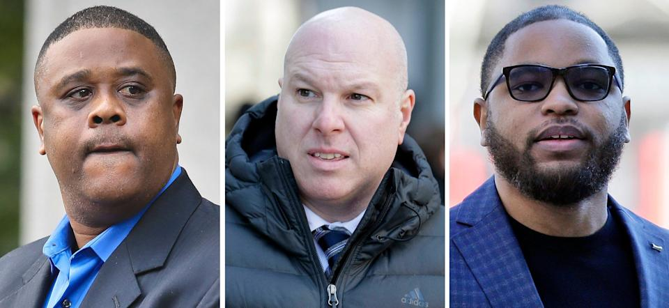 This combination of images shows, from left, amateur basketball league director Merl Code; former Adidas executive James Gatto; and business manager Christian Dawkins.